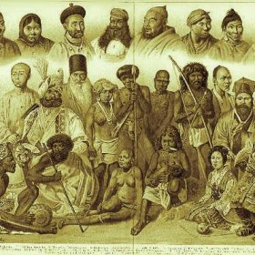 Asian people lithograph